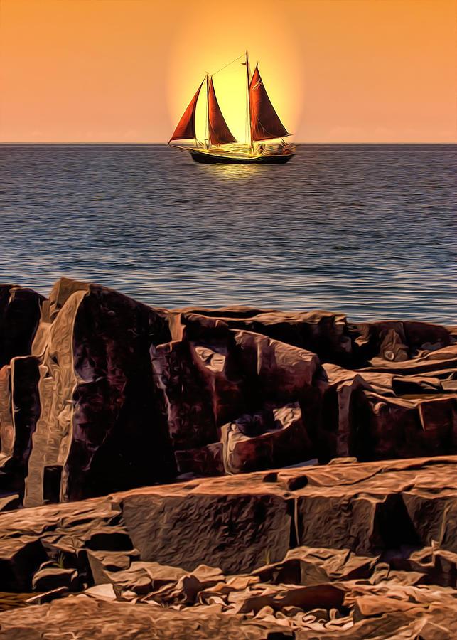 Lake Photograph - Sailing In Grand Marais by Bill Tiepelman