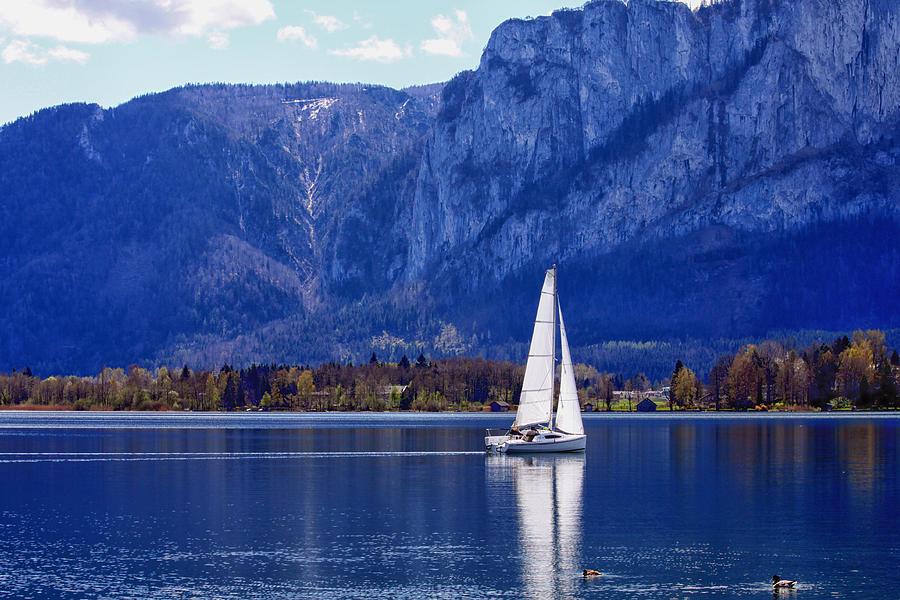 Sail Photograph - Sailing On Mondsee Lake by Lauri Novak