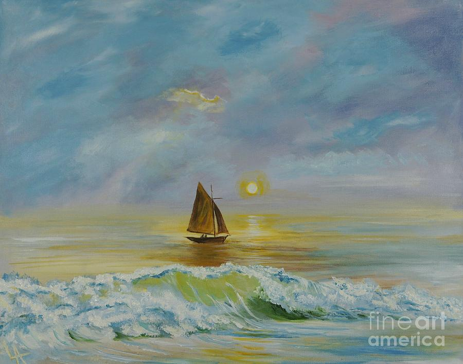 Sailboat Painting - Sailing The Ocean Blue by Leslie Allen