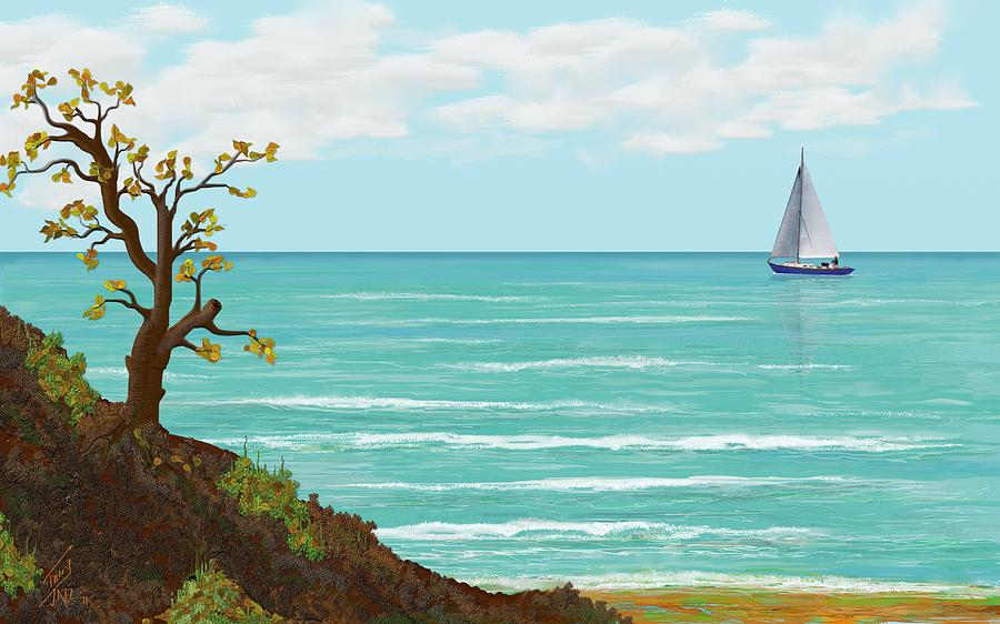 Seascape Digital Art - Sailing by Tony Rodriguez