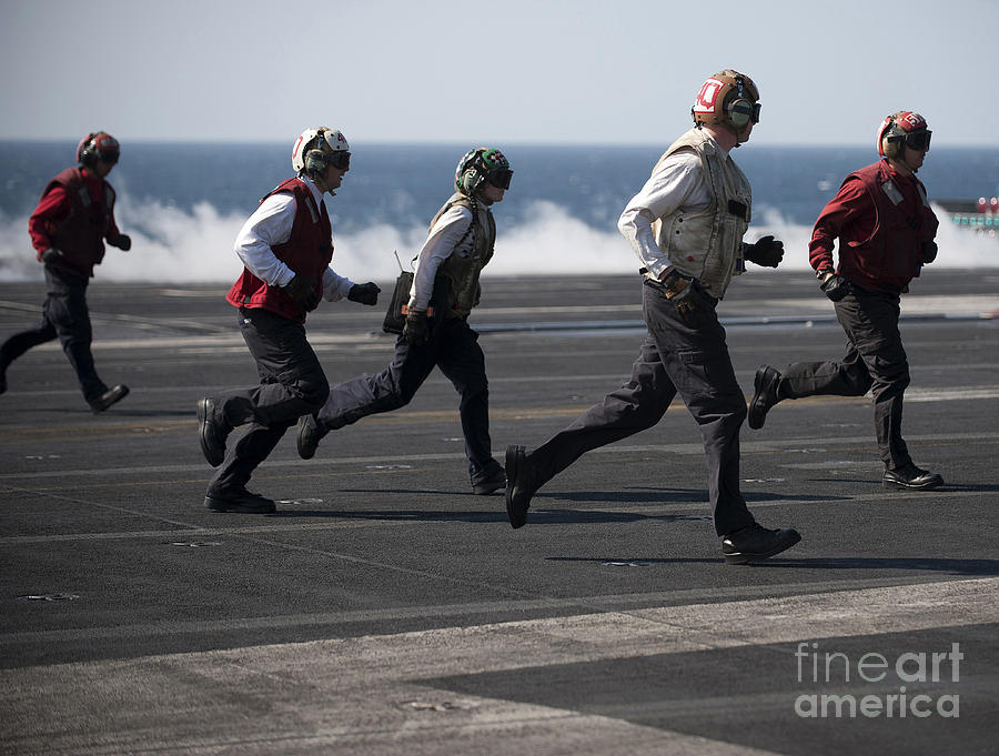 Warship Photograph - Sailors Clear The Landing Area by Stocktrek Images