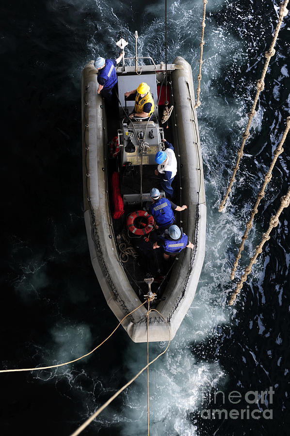 North Arabian Sea Photograph - Sailors Conduct A Man Overboard Drill by Stocktrek Images
