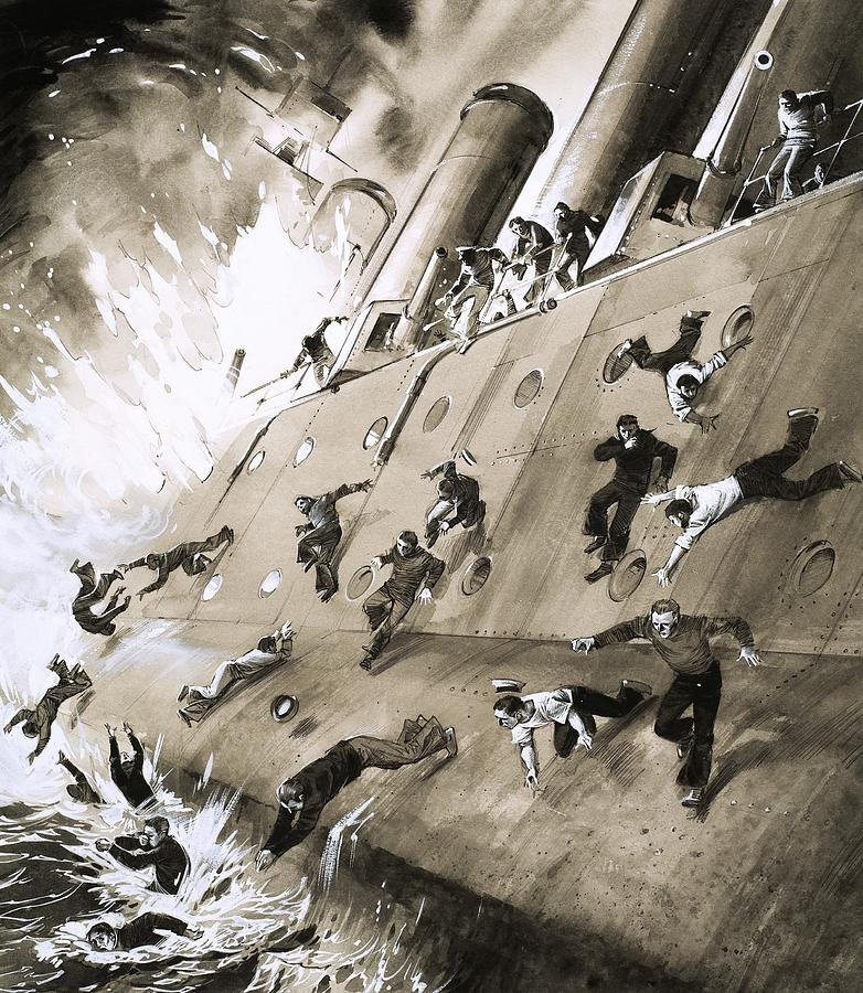 People Painting - Sailors Escaping Hms Natal Which Caught Fire In Cromerty Firth In 1915 by English School