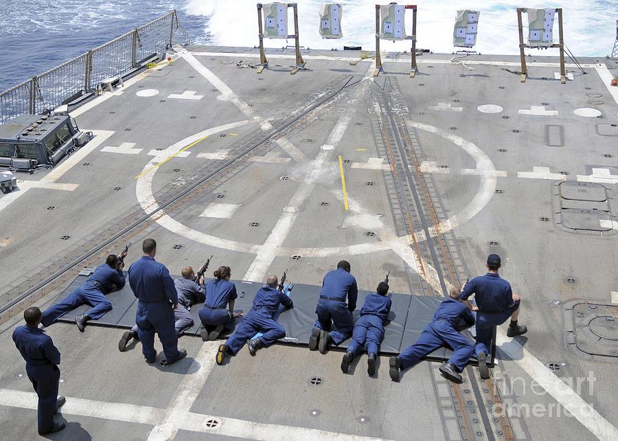 Military Photograph - Sailors Fire M4a1 Carbine Assault by Stocktrek Images