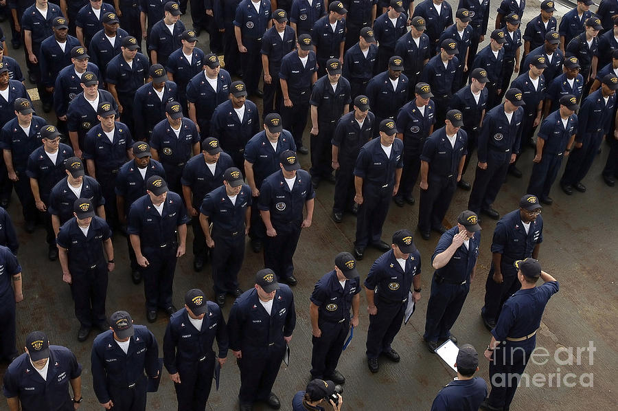 Color Image Photograph - Sailors Stand At Attention During An by Stocktrek Images