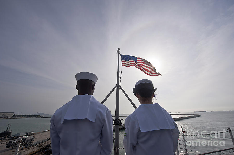 Operation Enduring Freedom Photograph - Sailors Stand By To Lower The Ensign by Stocktrek Images