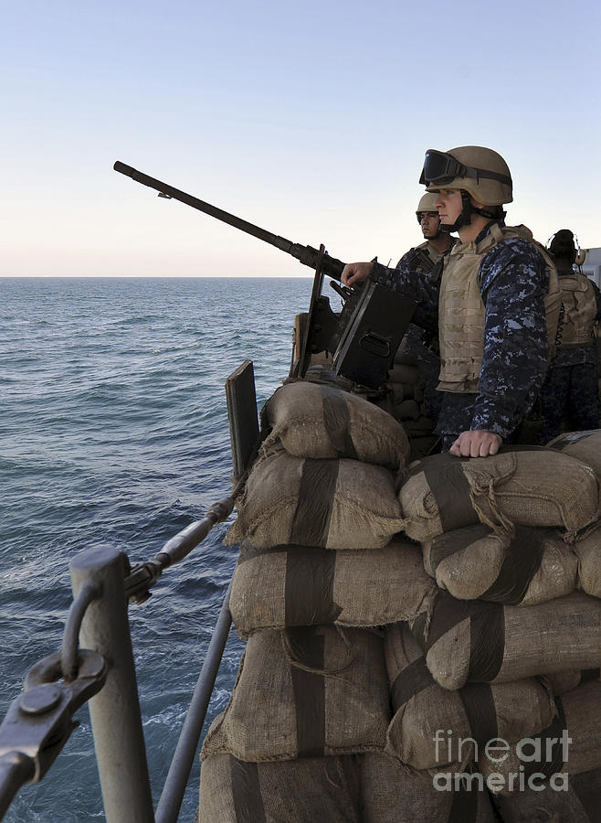 Operation Enduring Freedom Photograph - Sailors Stand Small Caliber Attack Team by Stocktrek Images