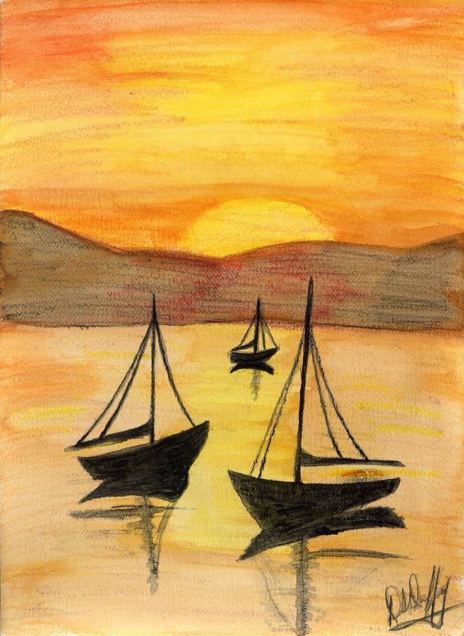 Boat Painting - Sails At Sunset by Deborah Duffy