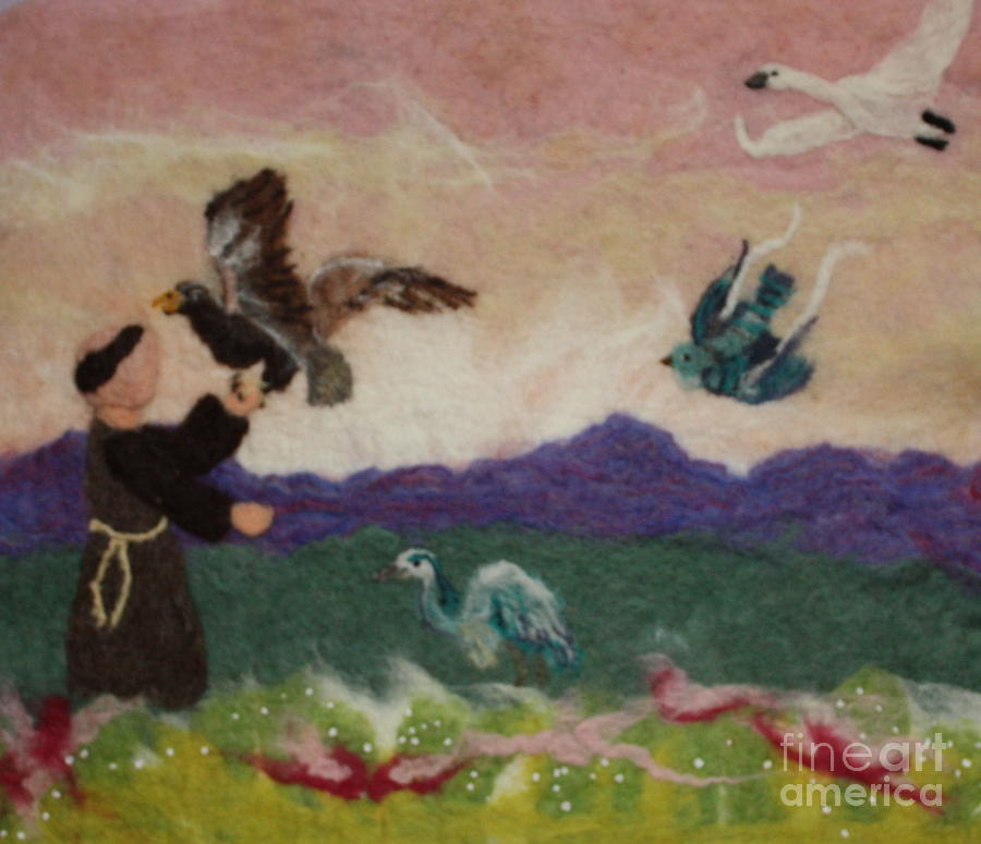 Saint Tapestry - Textile - Saint Francis And The Birds by Nicole Besack