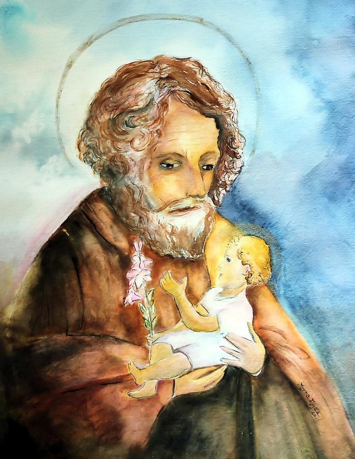 Saint Painting - Saint Joseph And Child by Myrna Migala