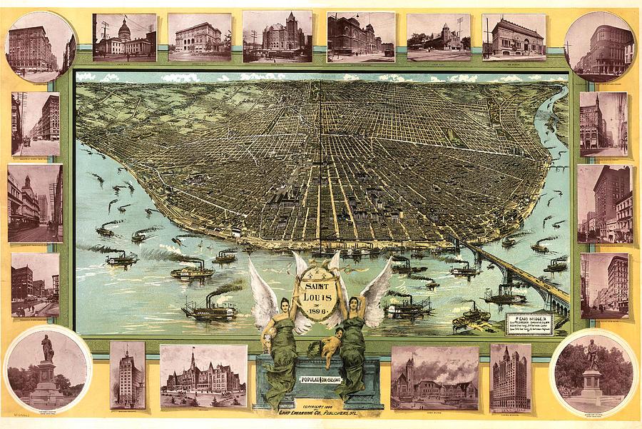 Panoramic Map Digital Art - Saint Louis 1896 by Donna Leach
