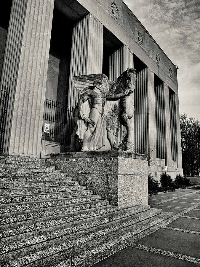 Statue Photograph - Saint Louis Soldiers Memorial Exterior Black And White by Joshua House
