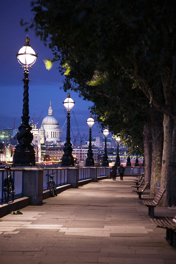 Vertical Photograph - Saint Pauls Cathedral As Seen From The Queens Walk Along The Thames River In London.  2007. by Uyen Le