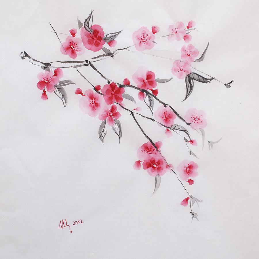 cherry blossom drawing - 900×900
