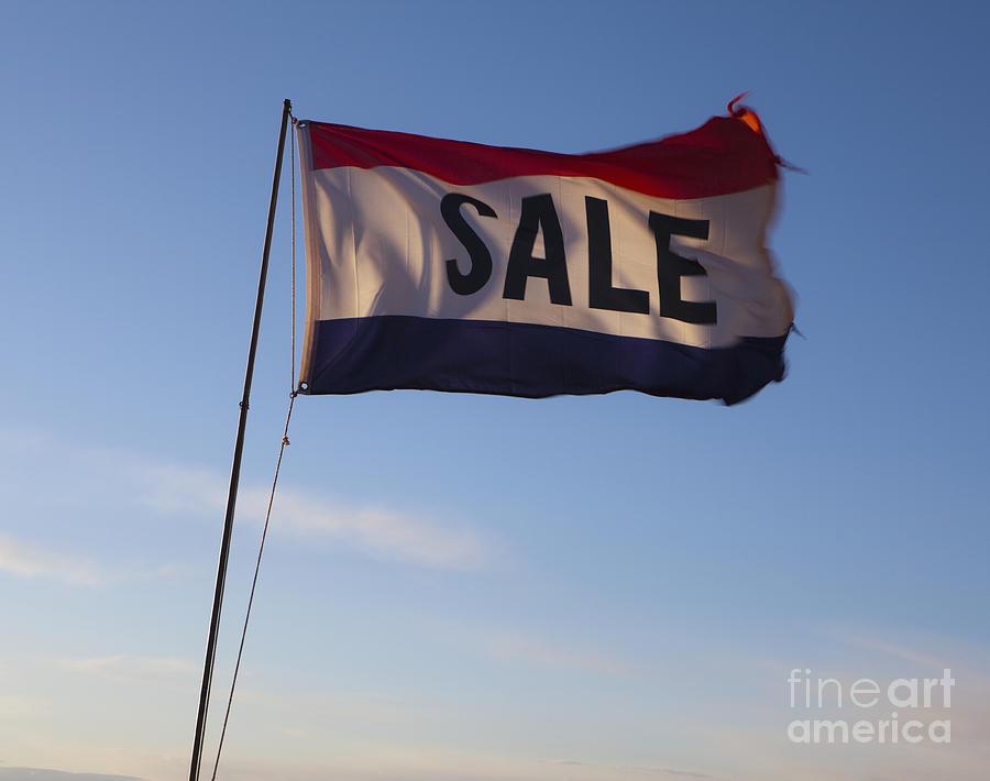 Advertisement Photograph - Sale Flag In The Wind by Paul Edmondson