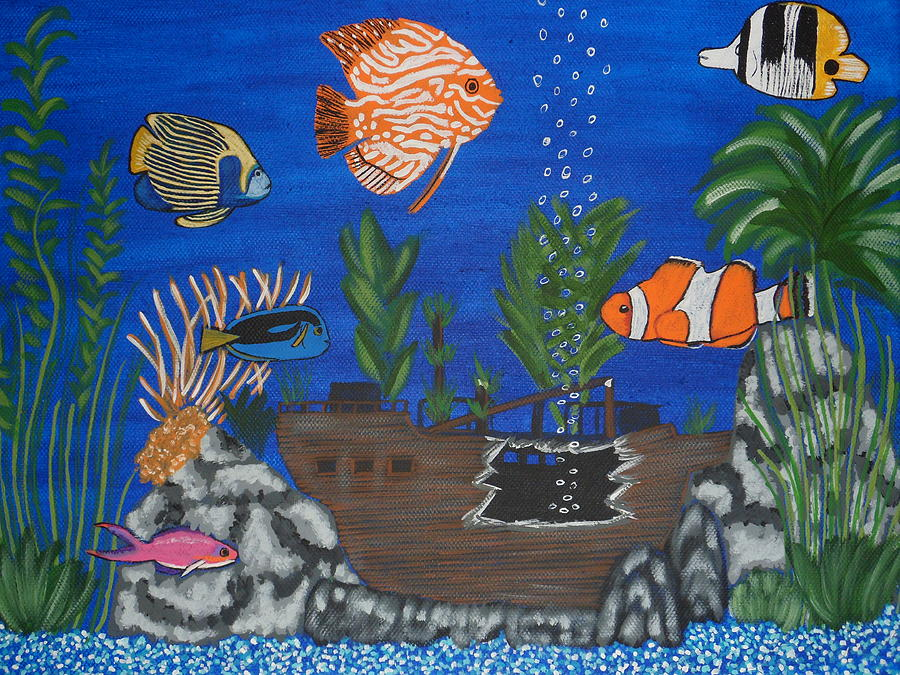 Saltwater aquarium painting by tammy rekito for Fish tank paint