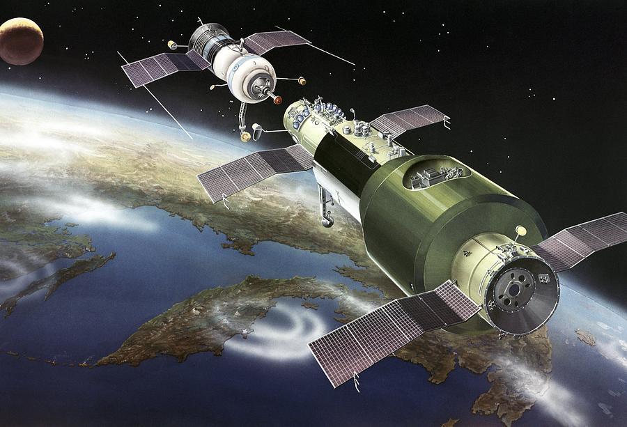Salyut Photograph - Salyut 1 Space Station, Artwork by Ria Novosti