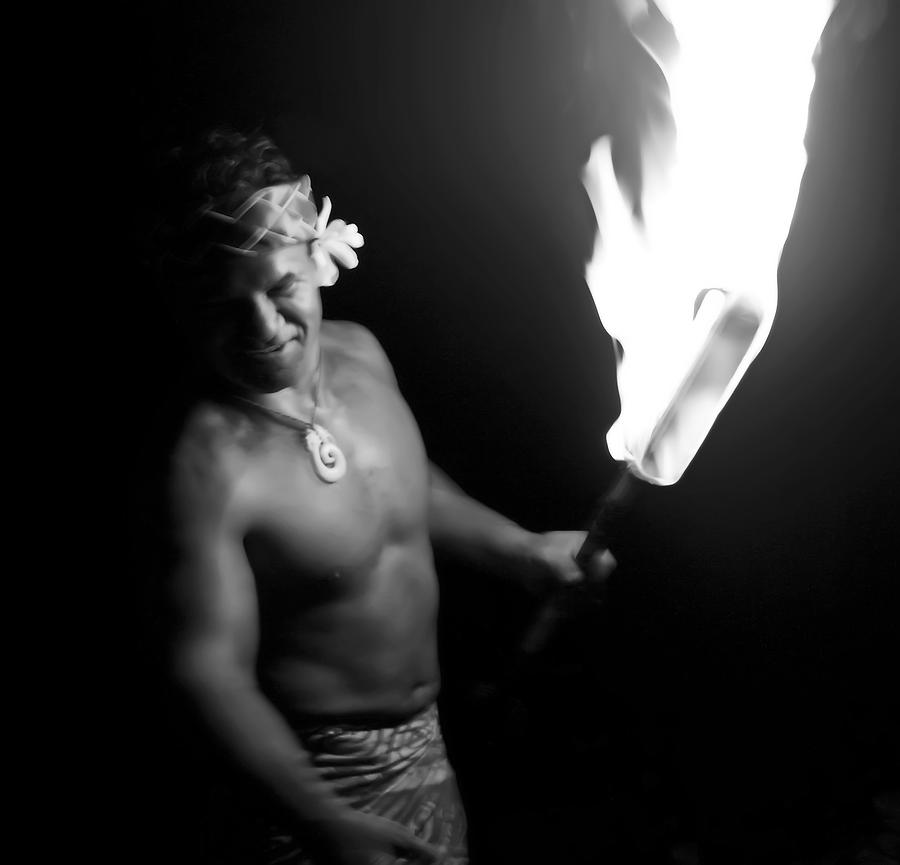 Samoa Photograph - Samoan Chief With Torch by Daniel Hagerman
