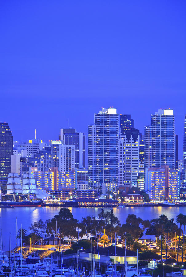 Buildings Photograph - San Diego Skyline And Harbour Island by Stuart Westmorland