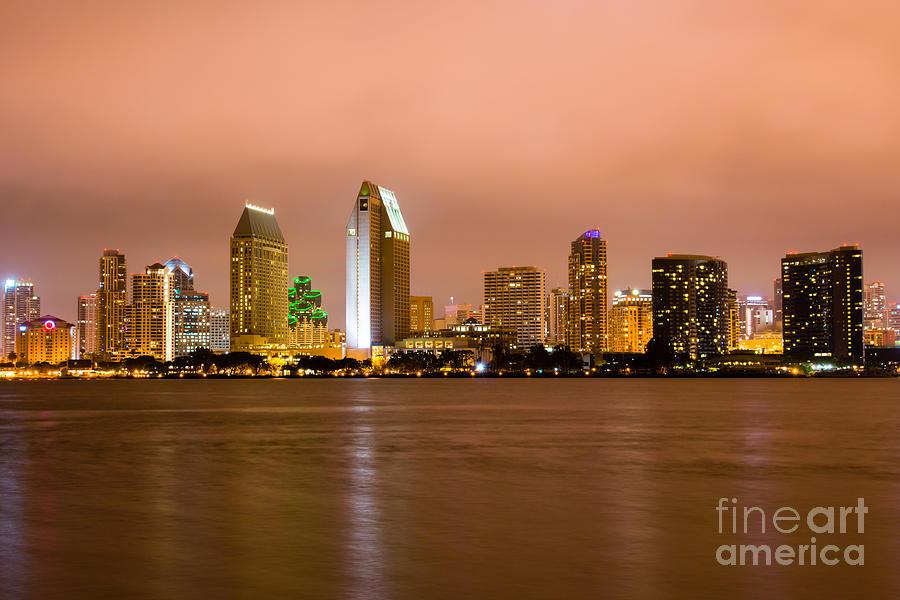 2012 Photograph - San Diego Skyline At Night by Paul Velgos