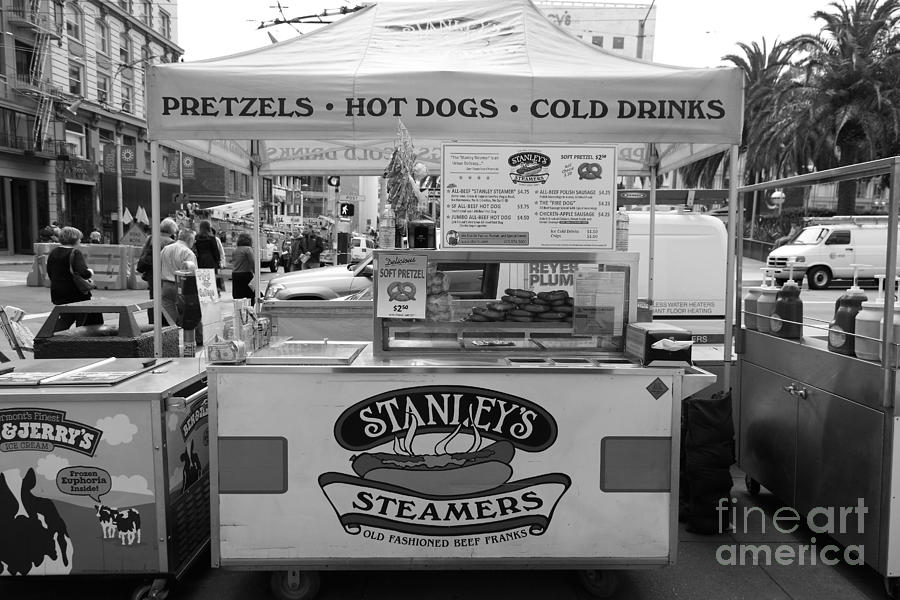 Black And White Photograph - San Francisco - Stanleys Steamers Hot Dog Stand - 5d17929 - Black And White by Wingsdomain Art and Photography