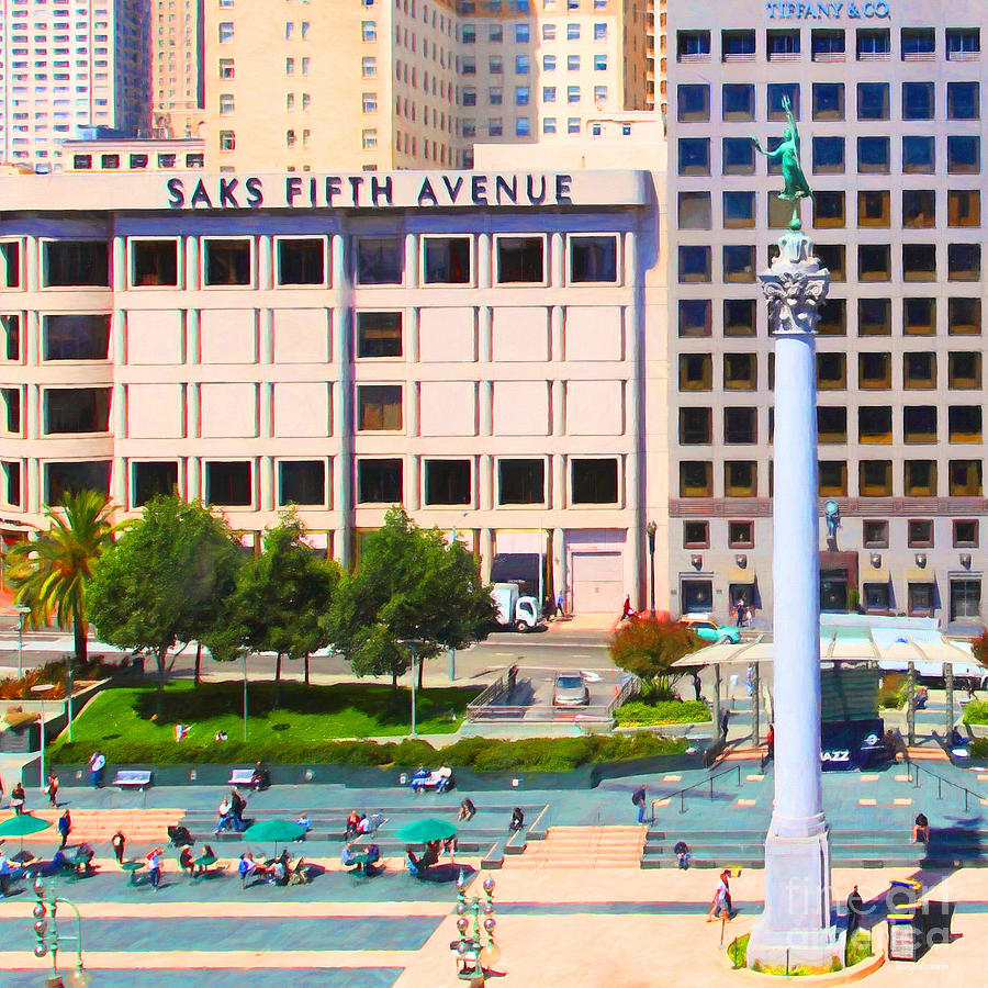 San Francisco Photograph - San Francisco - Union Square - 5d17938 - Square - Painterly by Wingsdomain Art and Photography