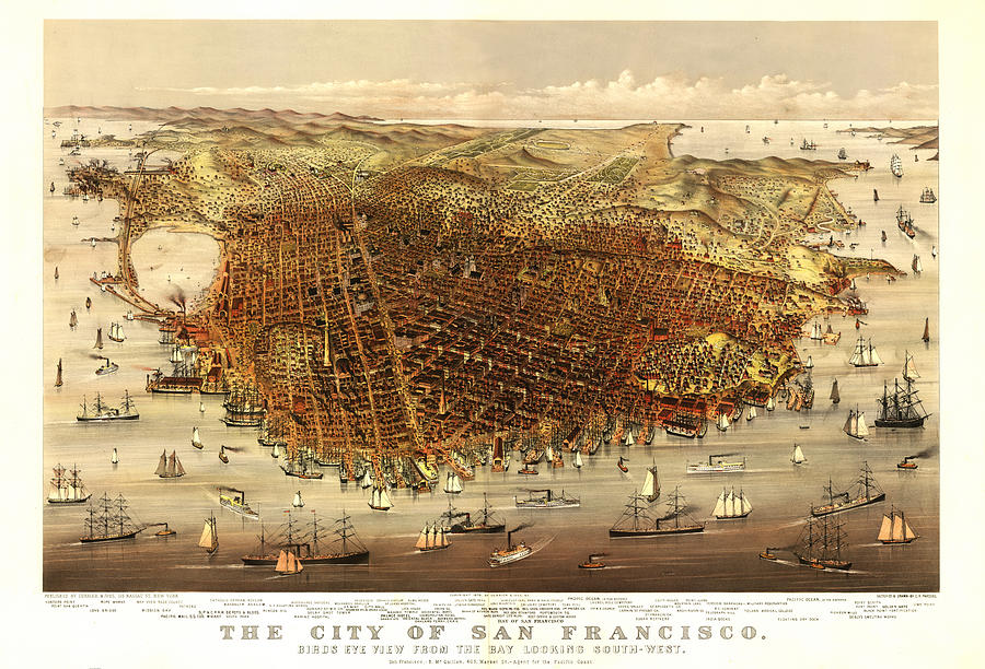 Panoramic Map Digital Art - San Francisco 1878 by Donna Leach