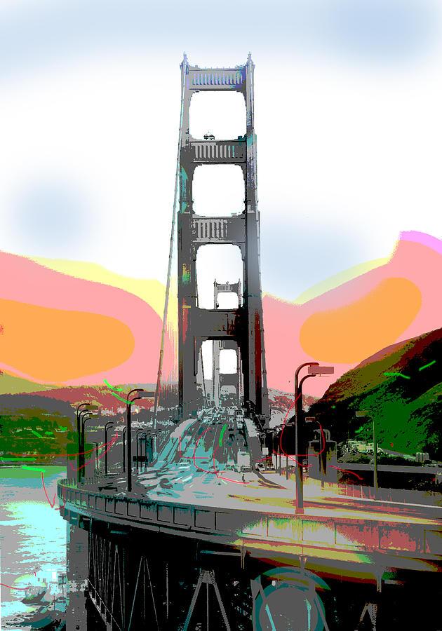 San Francisco Mixed Media - San Francisco Bay Bridge by Charles Shoup