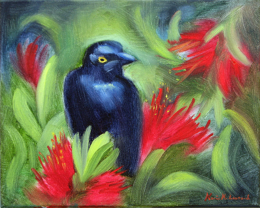 Black Bird Painting - San Francisco Black Bird by Karin  Leonard