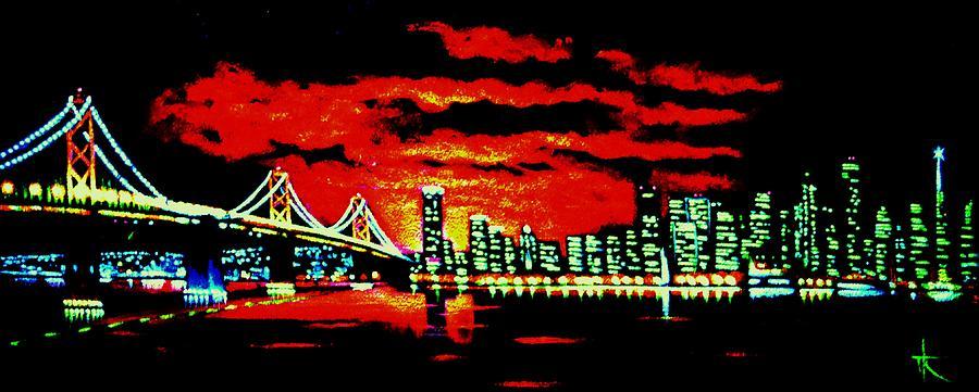 San Francisco Painting - San Francisco By Black Light by Thomas Kolendra