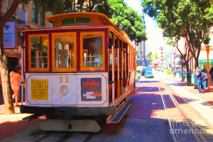 San Francisco Photograph - San Francisco Cable Car At The Powell Street Cable Car Turnaround - 5d17962 - Painterly by Wingsdomain Art and Photography