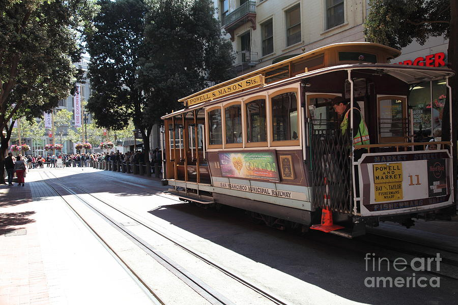 San Francisco Photograph - San Francisco Cable Car At The Powell Street Cable Car Turnaround - 5d17963 by Wingsdomain Art and Photography