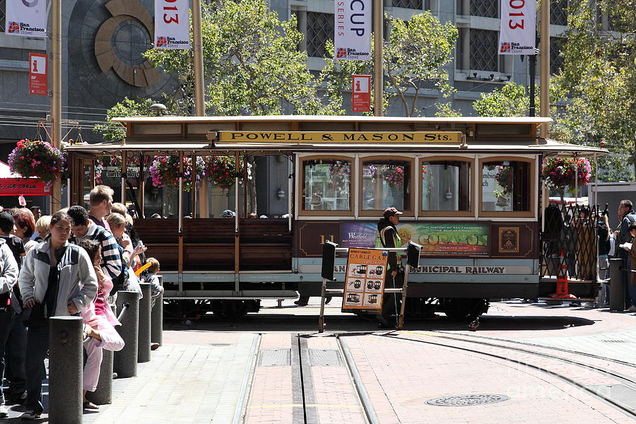 San Francisco Photograph - San Francisco Cable Car At The Powell Street Cable Car Turnaround - 5d17968 by Wingsdomain Art and Photography