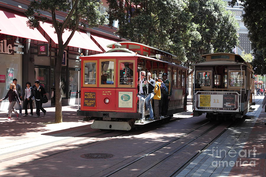 San Francisco Photograph - San Francisco Cable Cars At The Powell Street Cable Car Turnaround - 5d17959 by Wingsdomain Art and Photography