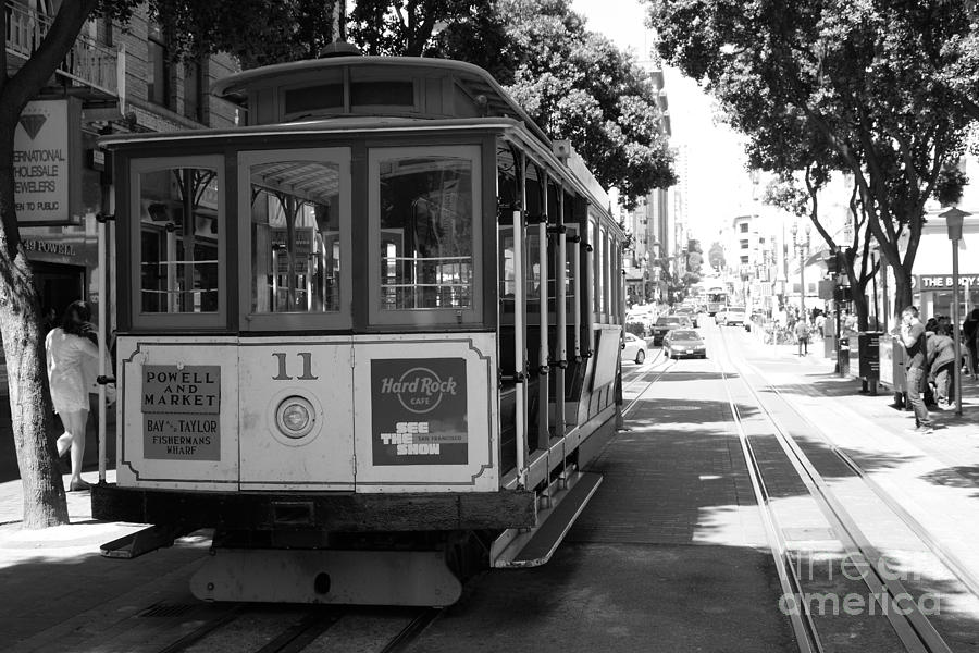 Black And White Photograph - San Francisco Cable Cars At The Powell Street Cable Car Turnaround - 5d17962 - Black And White by Wingsdomain Art and Photography