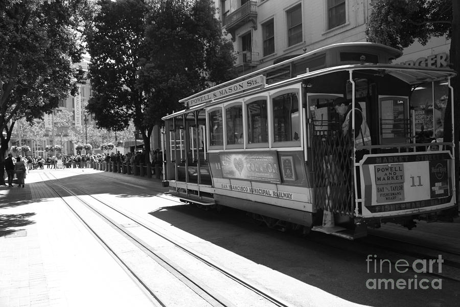 Black And White Photograph - San Francisco Cable Cars At The Powell Street Cable Car Turnaround - 5d17963 - Black And White by Wingsdomain Art and Photography