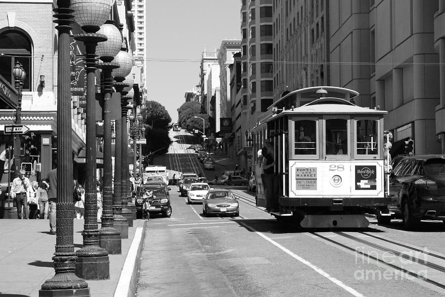 Black and white photograph san francisco cablecar on powell street black and white photo