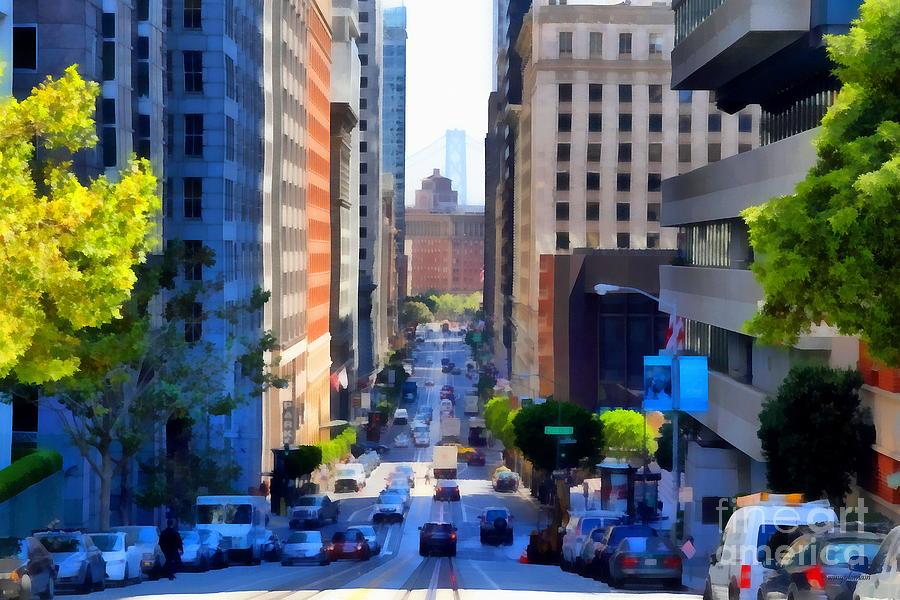 San Francisco Photograph - San Francisco California Street  . 7d7186 by Wingsdomain Art and Photography