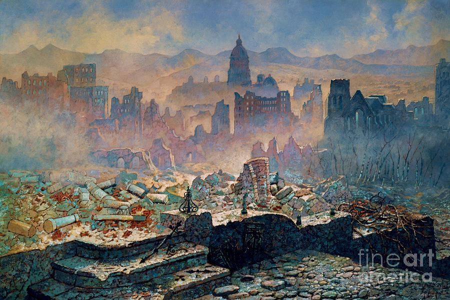 Pd Painting - San Francisco Earthquake by Pg Reproductions