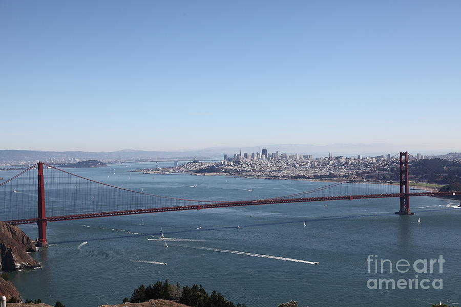 San Francisco Photograph - San Francisco Golden Gate Bridge And Skyline Viewed From Hawk Hill In Marin - 5d19629 by Wingsdomain Art and Photography