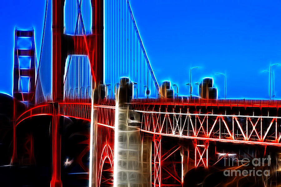 San Francisco Photograph - San Francisco Golden Gate Bridge Electrified by Wingsdomain Art and Photography