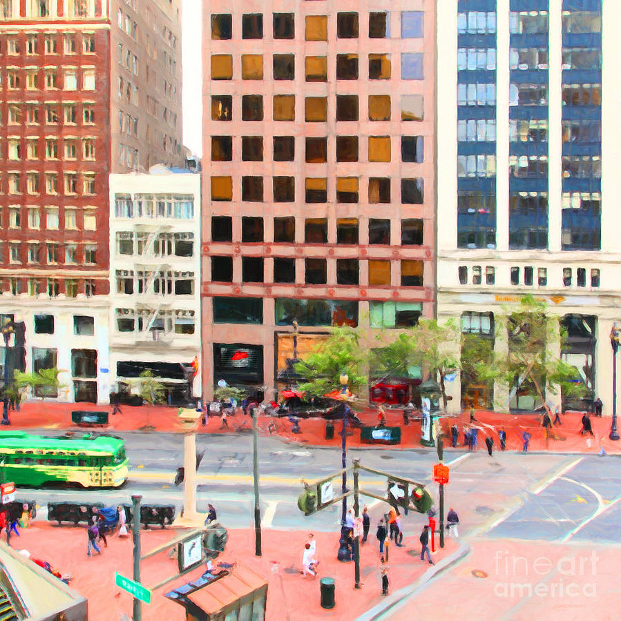 San Francisco Photograph - San Francisco Market Street - 5d17877 - Square - Painterly by Wingsdomain Art and Photography