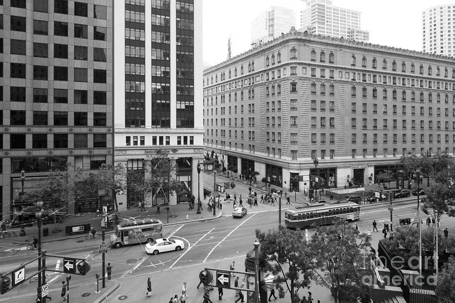 Black and white photograph san francisco market street 5d17883 black and white by
