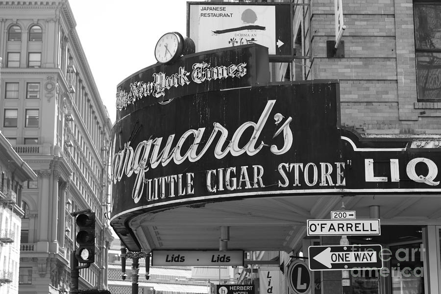 Black And White Photograph - San Francisco Marquards Little Cigar Store Powell And Ofarrell Streets - 5d17954 - Black And White by Wingsdomain Art and Photography