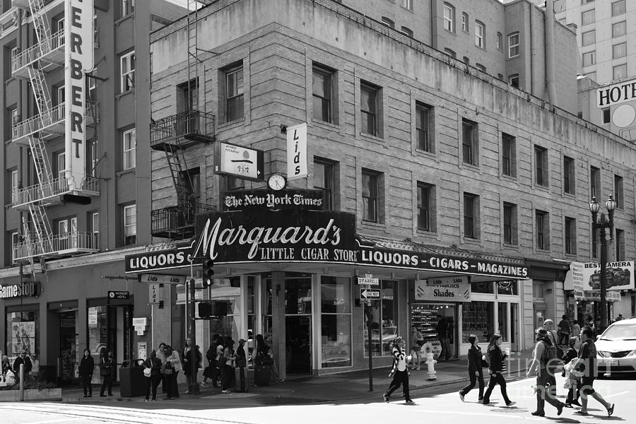 Black And White Photograph - San Francisco Marquards Little Cigar Store Powell Street - 5d17950 - Black And White by Wingsdomain Art and Photography