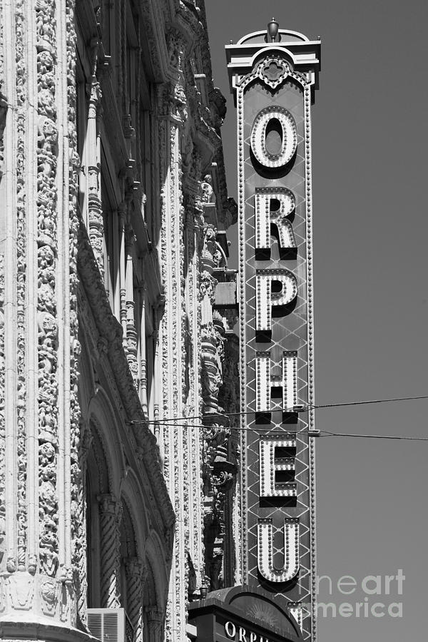 Black And White Photograph - San Francisco Orpheum Theatre - 5d17996 - Black And White by Wingsdomain Art and Photography