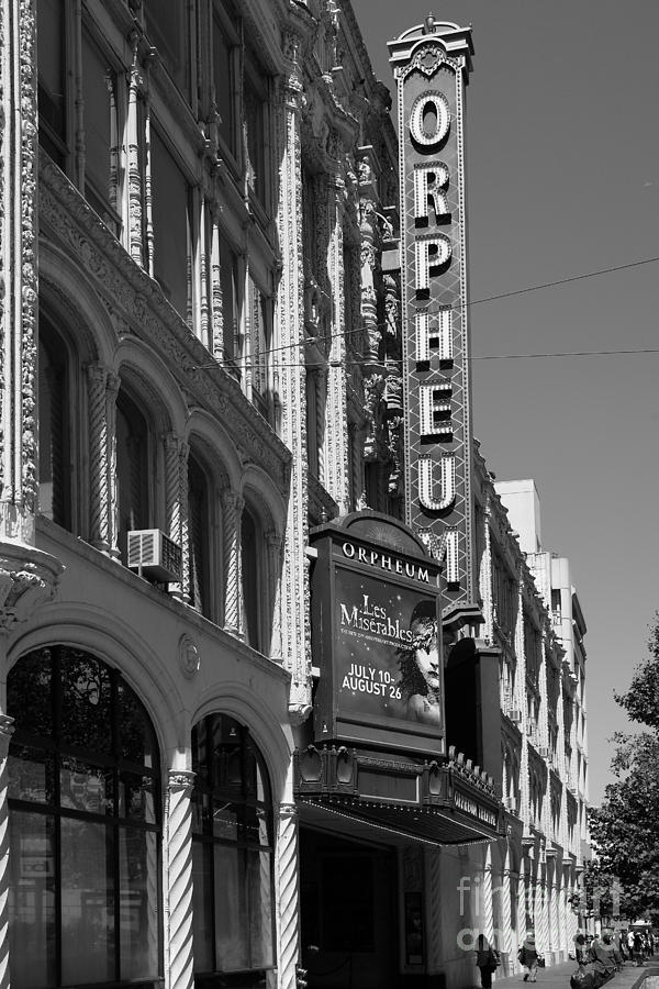 Black And White Photograph - San Francisco Orpheum Theatre - 5d17997 - Black And White by Wingsdomain Art and Photography