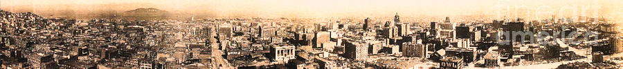San Francisco Photograph - San Francisco Skyline Panorama 1909 From The Ferry Building Through South Of Market by Wingsdomain Art and Photography
