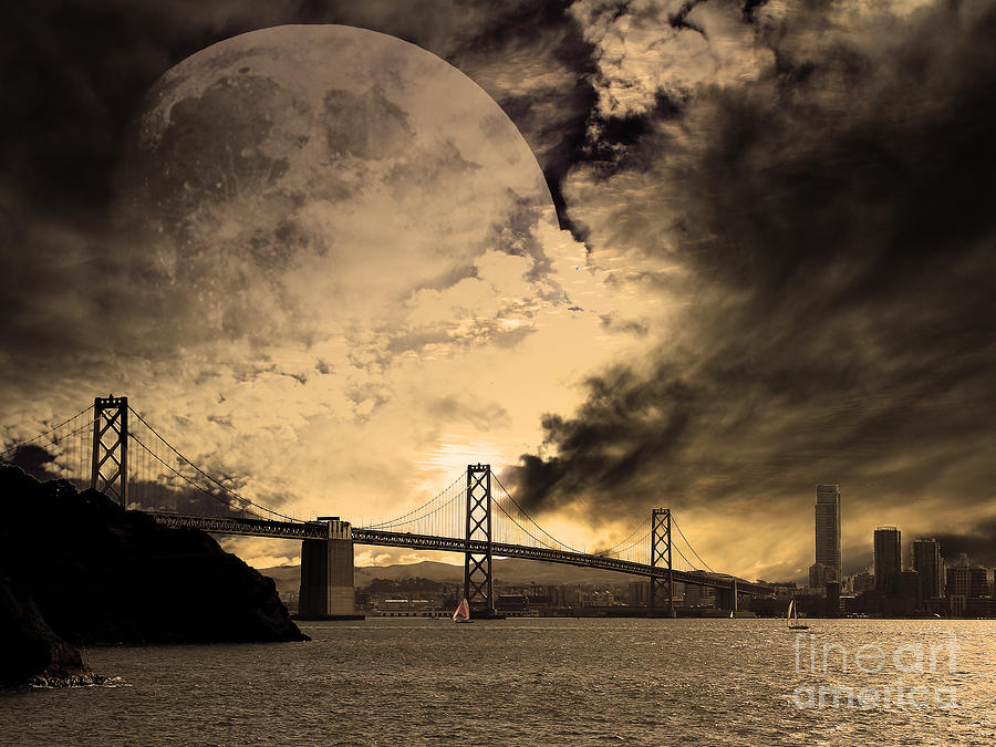 Moon Photograph - San Francisco Under The Moon by Wingsdomain Art and Photography
