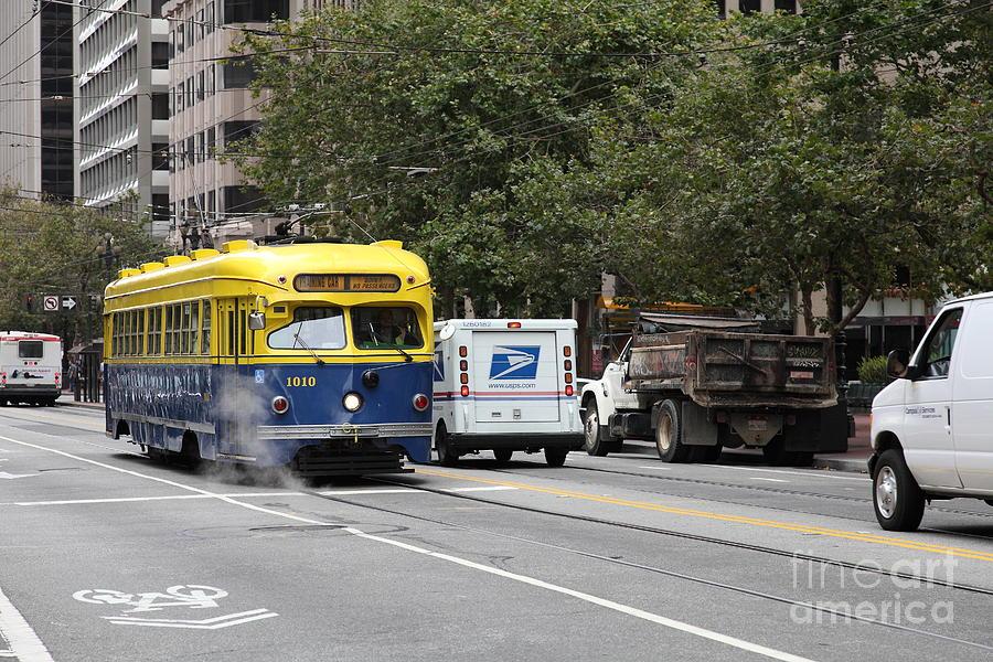 San Francisco Photograph - San Francisco Vintage Streetcar On Market Street - 5d17849 by Wingsdomain Art and Photography